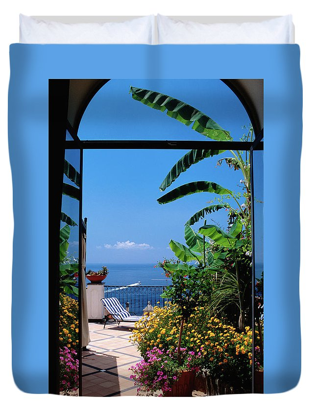 Tranquility Duvet Cover featuring the photograph Doorway To Terrace At Hotel Punta by Dallas Stribley
