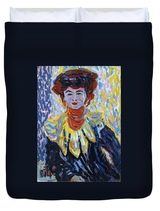 1906 Duvet Cover featuring the painting Doris With Ruff Collar by Ernst Ludwig Kirchner
