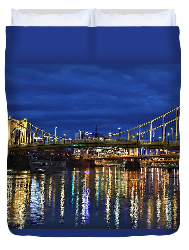 Pittsburgh Pa. Pennsylvania Andy Warhol Warhola Skyline Bridge Skyline Skycap Urban Urbanx Taaffe Jimmy City Bridge North Shore Color Duvet Cover featuring the photograph Double Agent by Jimmy Taaffe