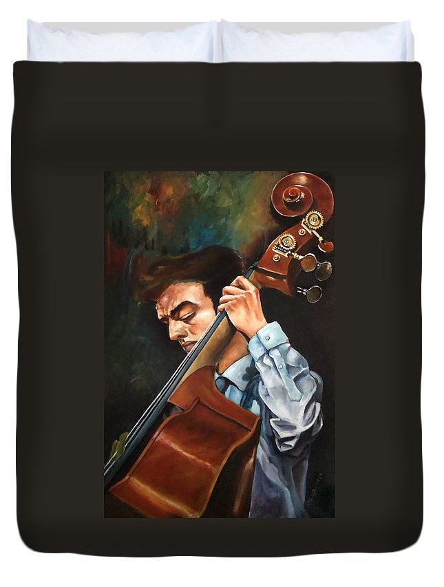 Music Duvet Cover featuring the painting Double Bass Player by Ka-Son Reeves