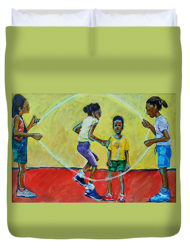 Play Duvet Cover featuring the painting Double Dutch by Charles M Williams