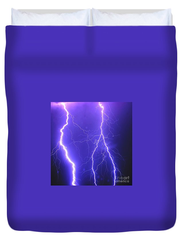 Duvet Cover featuring the photograph Double Triple Blue Lightning by Michael Tidwell