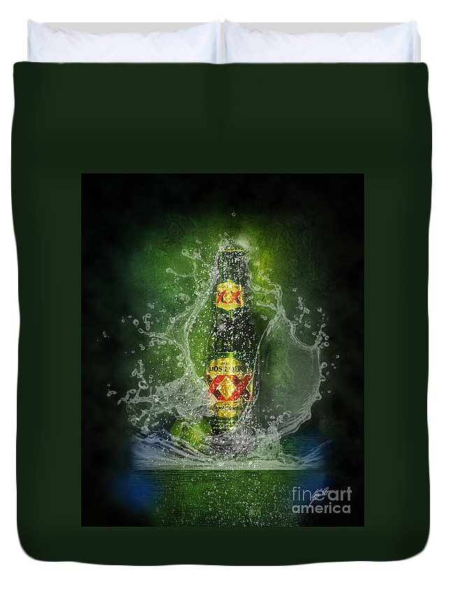 Dos Equis Beer Duvet Cover featuring the photograph Double X by Erika Weber