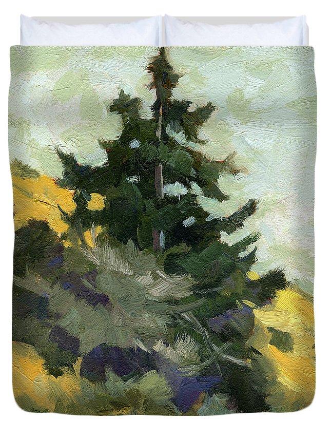 Douglas Fir Duvet Cover featuring the painting Douglas Fir In Washington by Diane McClary
