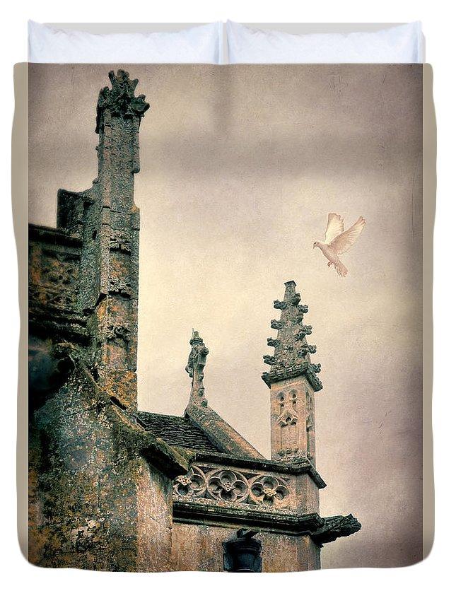 Church Duvet Cover featuring the photograph Dove Landing On Church by Jill Battaglia