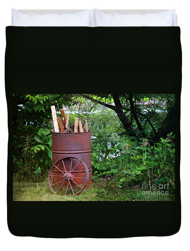 Wood Duvet Cover featuring the photograph Down By The River by Elaine Berger