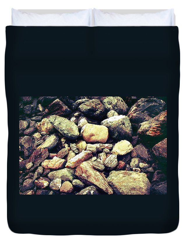 Rocks Duvet Cover featuring the painting Down By The River by Florian Rodarte