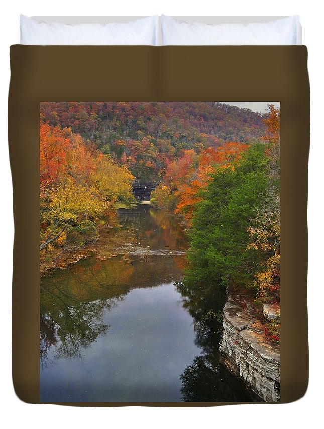 Buffalo River Duvet Cover featuring the photograph Down From Ponca by Marty Koch