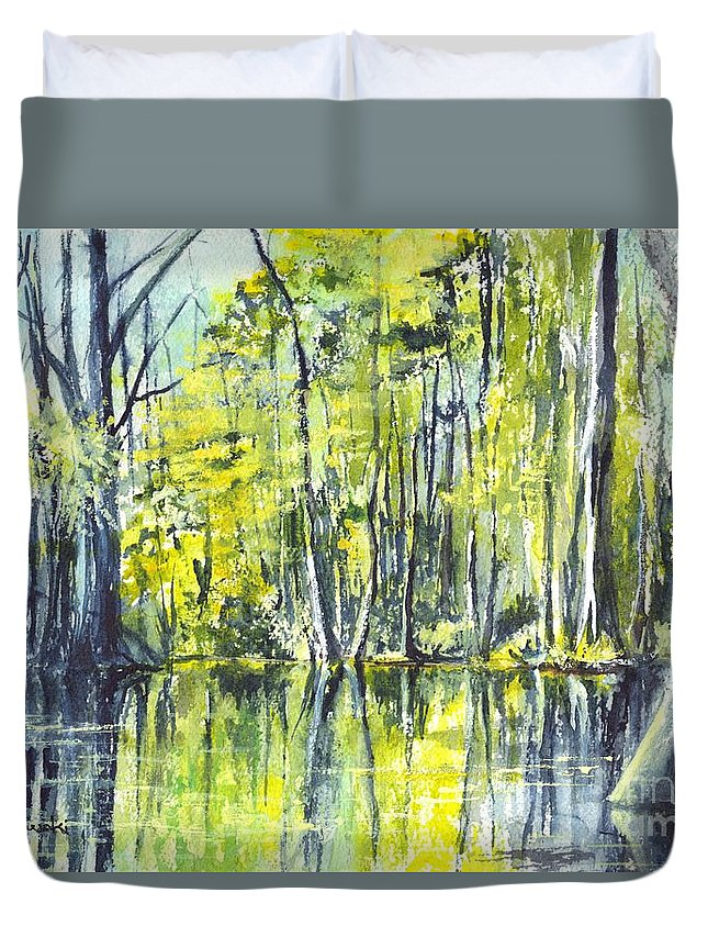 Watercolor Duvet Cover featuring the painting Down On The Bayou by Carol Wisniewski