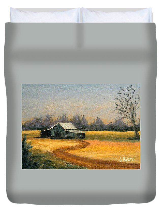 Barn Duvet Cover featuring the painting Down On The Farm by Julia RIETZ