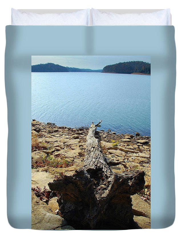 Lake Duvet Cover featuring the photograph Down by T Campbell