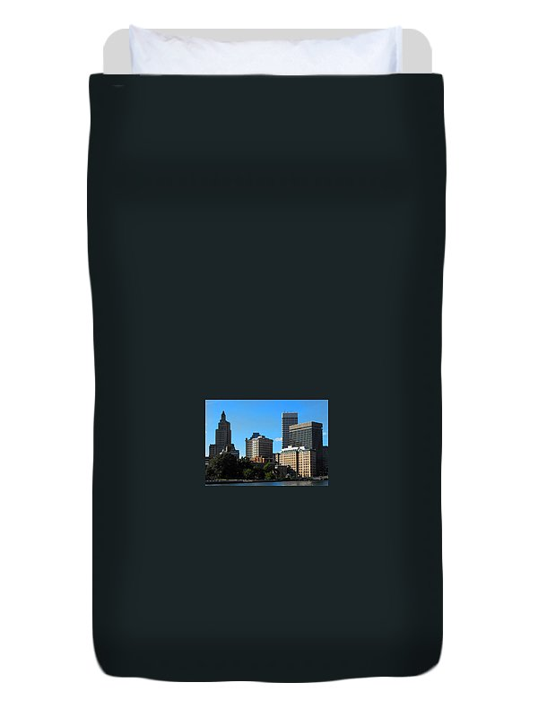 Scenic Duvet Cover featuring the digital art Downcity by Catherine Ratliff