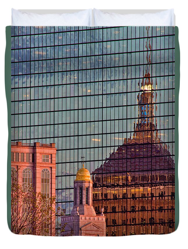 Boston Duvet Cover featuring the photograph Downtown Boston Reflection by John McGraw