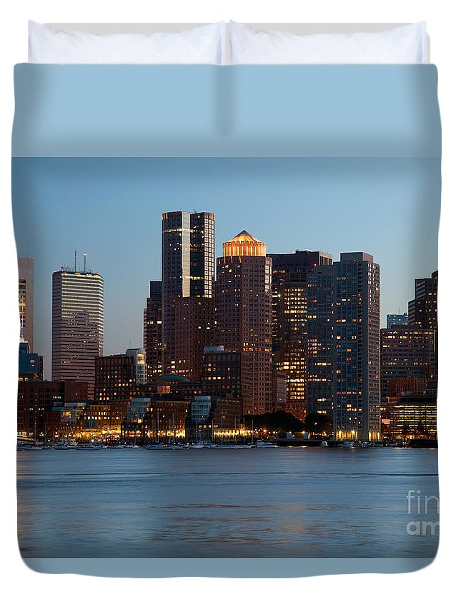 Charles River Duvet Cover featuring the photograph Downtown Boston Skyline by Bill Cobb