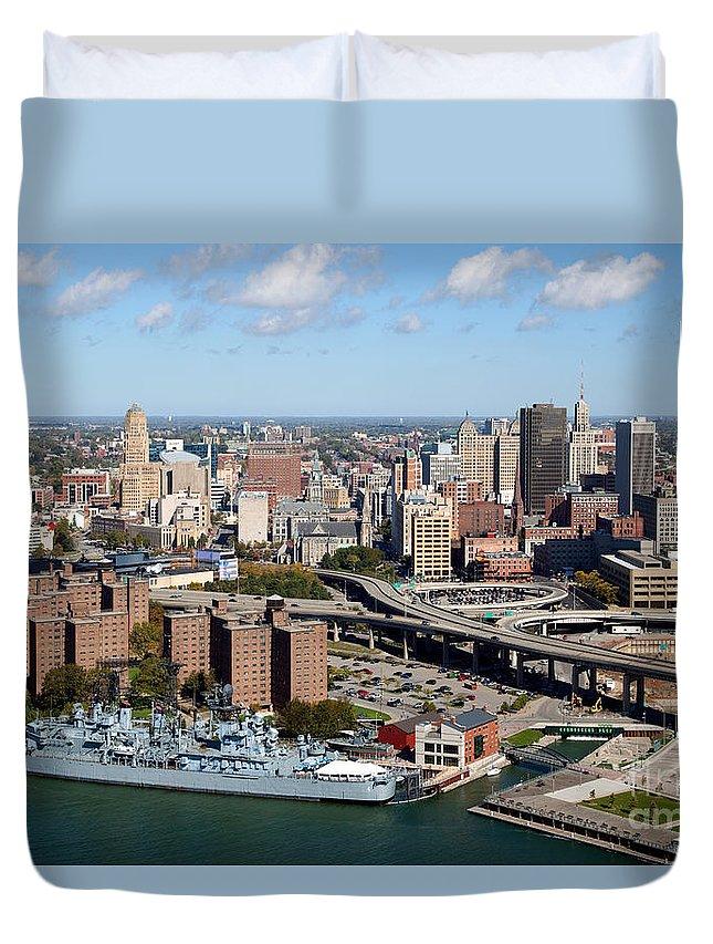Buffalo Naval & Military Park Duvet Cover featuring the photograph Downtown Buffalo Skyline by Bill Cobb