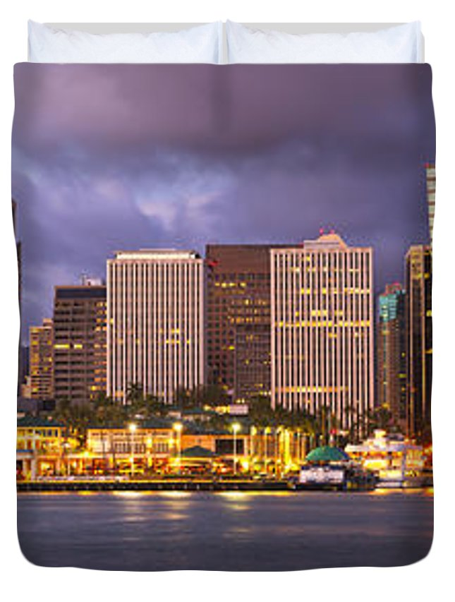 Downtown Duvet Cover featuring the photograph Downtown Honolulu Hawaii Dusk Skyline by Ken Brown
