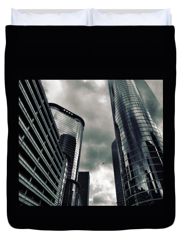 Downtown Houston Skyscrapers In Storm Duvet Cover featuring the photograph Downtown Houston Skyscrapers In Storm by Dan Sproul