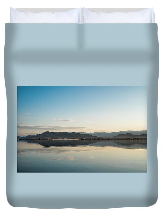 Reflections Duvet Cover featuring the photograph Downtown Kelowna And William Bennett Bridge by Allan Van Gasbeck
