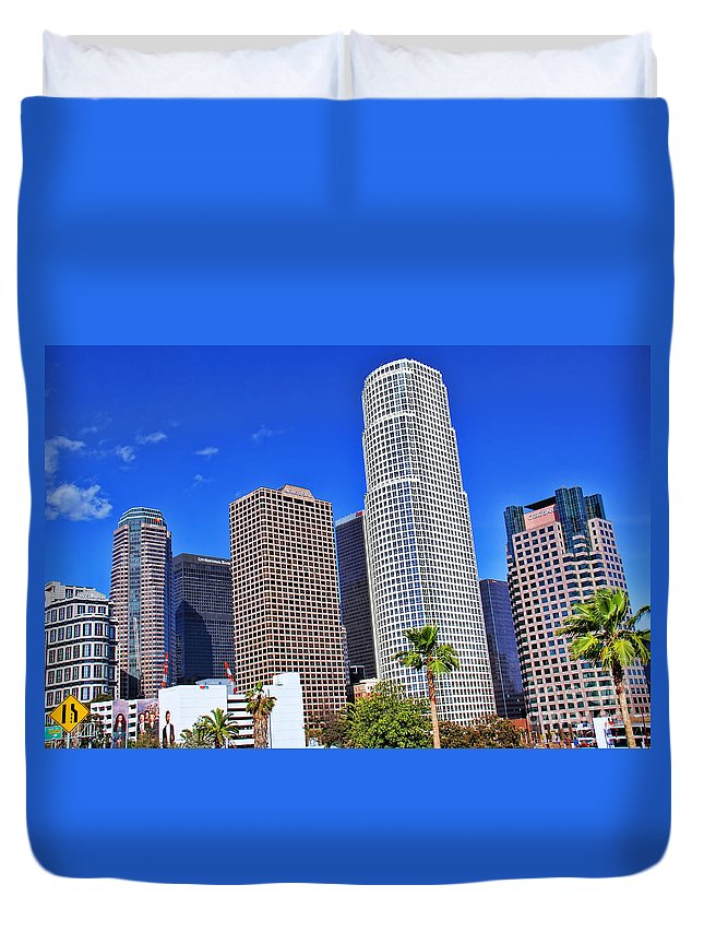 Downtown Los Angeles Duvet Cover featuring the photograph Downtown Los Angeles by Mariola Bitner