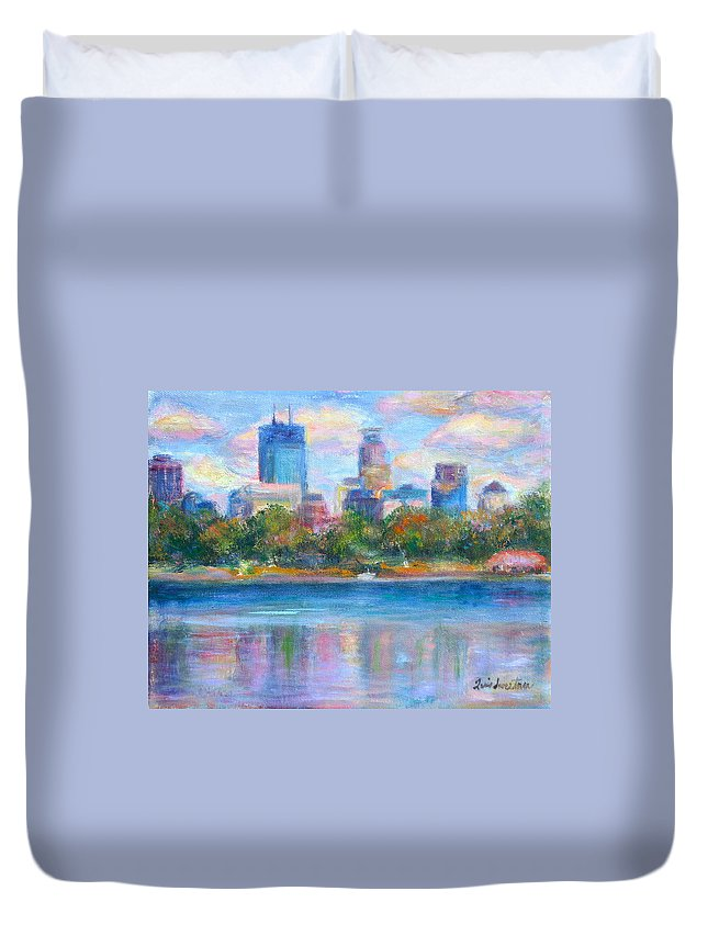 Quin Sweetman Duvet Cover featuring the painting Downtown Minneapolis Skyline From Lake Calhoun by Quin Sweetman