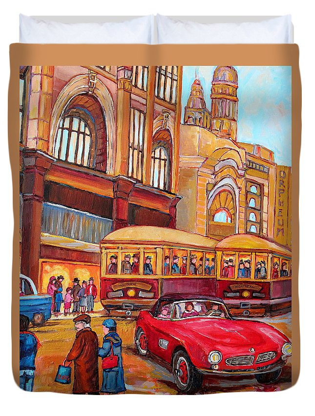Montreal Duvet Cover featuring the painting Downtown Montreal-streetcars-couple Near Red Fifties Mustang-montreal Vintage Street Scene by Carole Spandau
