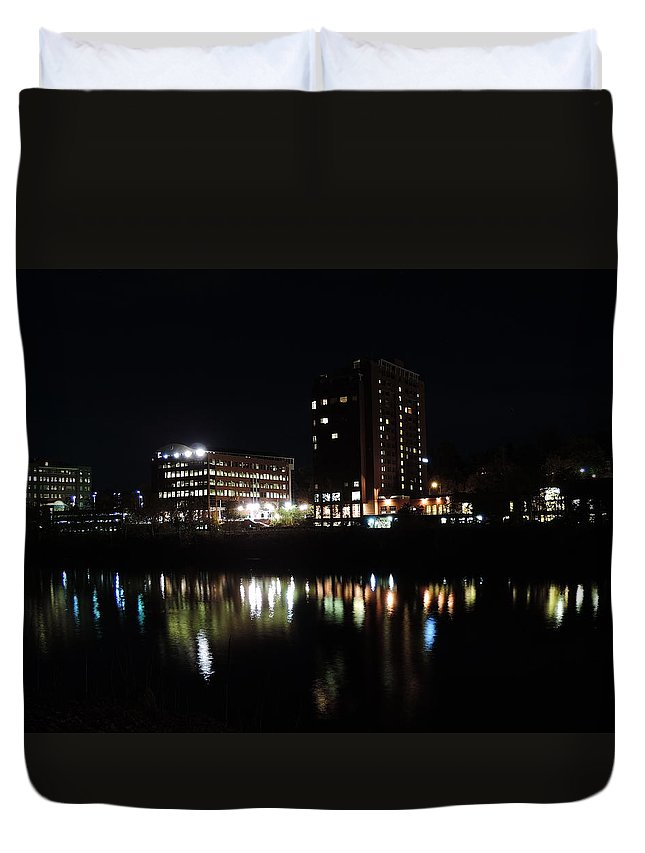 City Duvet Cover featuring the photograph Downtown Morgantown From The Waterfront by Cityscape Photography