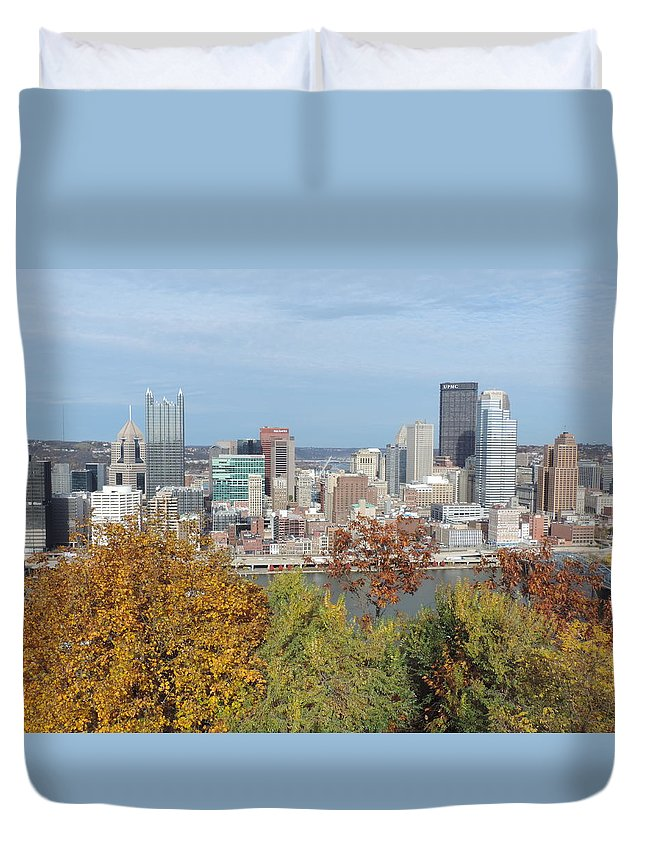 City Duvet Cover featuring the photograph Downtown Pittsburgh From Mount Washington 4 by Cityscape Photography