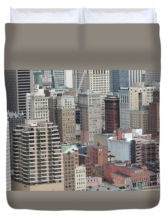 City Duvet Cover featuring the photograph Downtown Pittsburgh From Mount Washington by Cityscape Photography