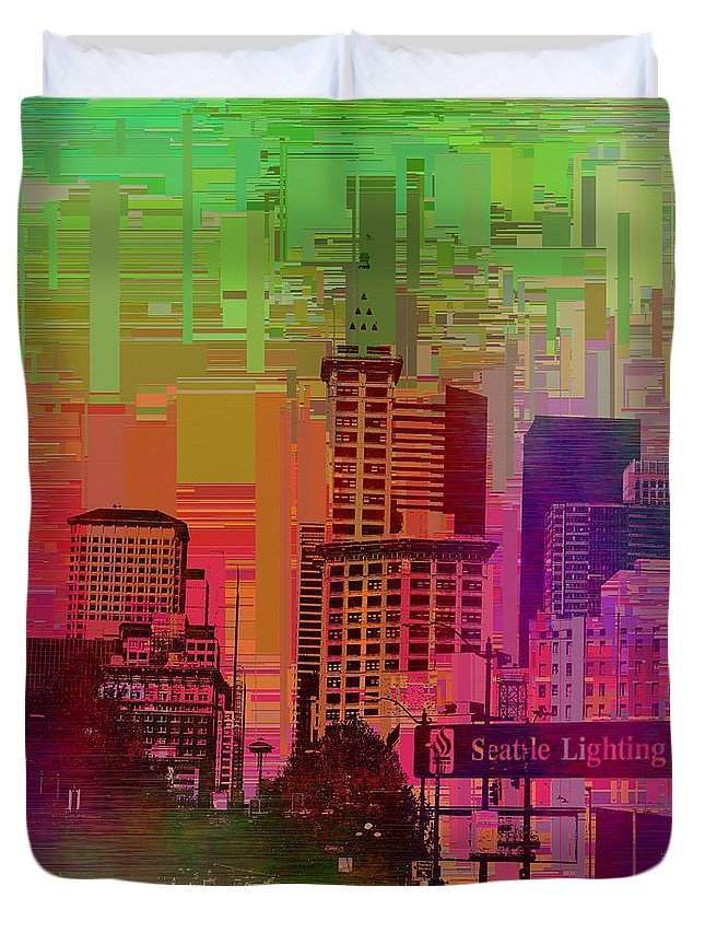 Abstract Duvet Cover featuring the digital art Downtown Seattle Cubed 1 by Tim Allen