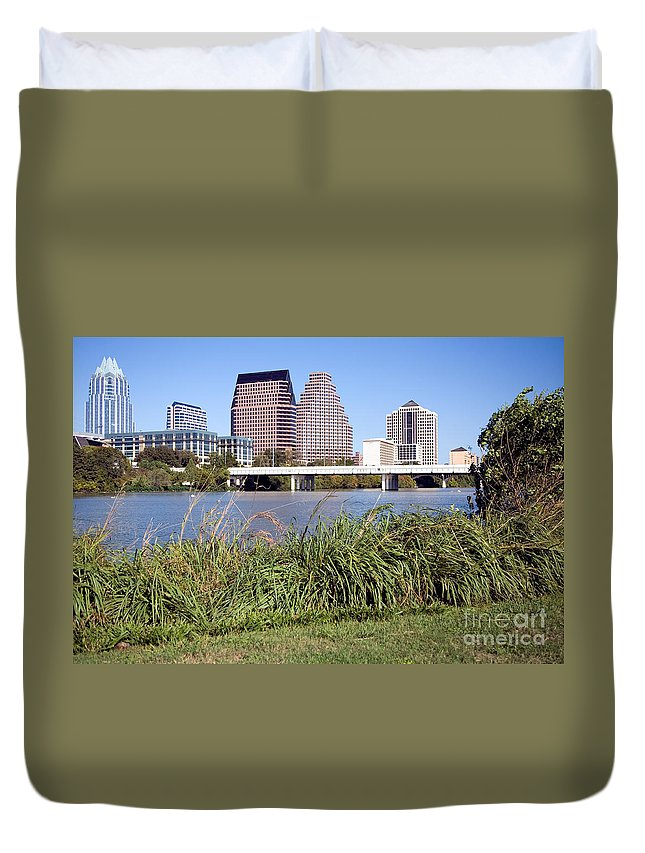 Austin Duvet Cover featuring the photograph Downtown Skyline Of Austin by Bill Cobb