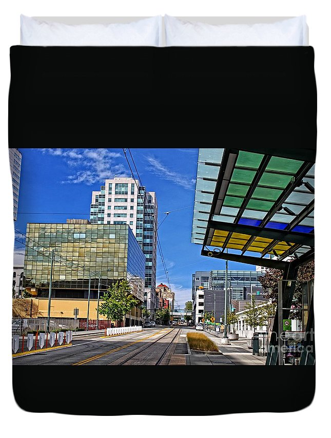 57 Duvet Cover featuring the photograph Downtown Tacoma Hdr by Tom Gilbrough