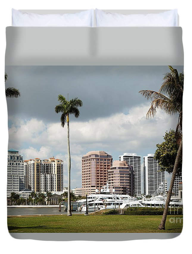 Docks Duvet Cover featuring the photograph Downtown West Palm Beach by Bill Cobb