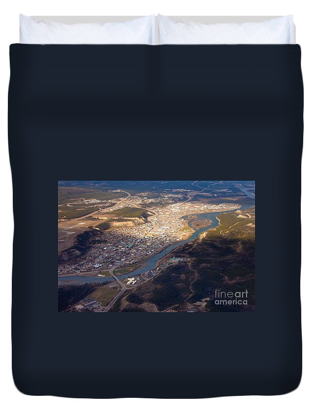 Aerial Duvet Cover featuring the photograph Downtown Whitehorse Yukon Territory Canada by Stephan Pietzko