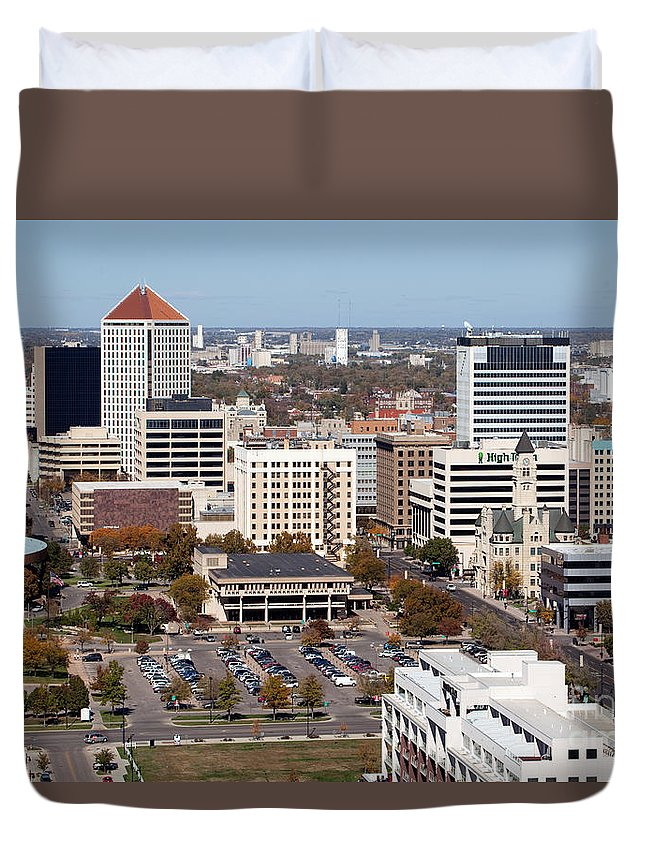 Aerial Duvet Cover featuring the photograph Downtown Wichita by Bill Cobb