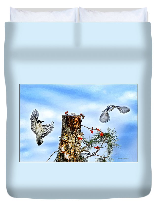 Downy Woodpecker Duvet Cover featuring the photograph Downy And Titmouse Playing On Lichen Stump by Randall Branham