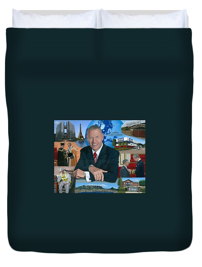 Peter Hindle Duvet Cover featuring the painting Dr Peter Hindle Mbe by Richard Harpum