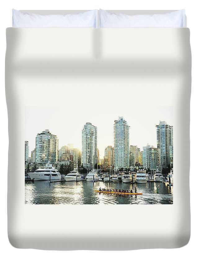 Tranquility Duvet Cover featuring the photograph Dragon Boating In Vancouver by Carlina Teteris