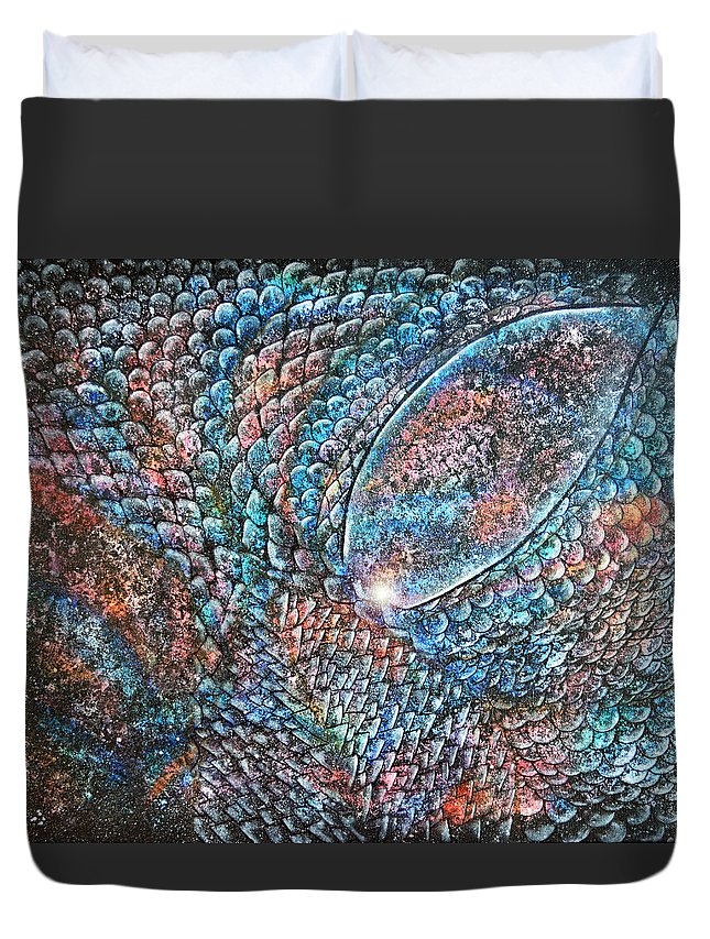Dragon Duvet Cover featuring the painting Dragon Insight 6 by Wendy Anderson
