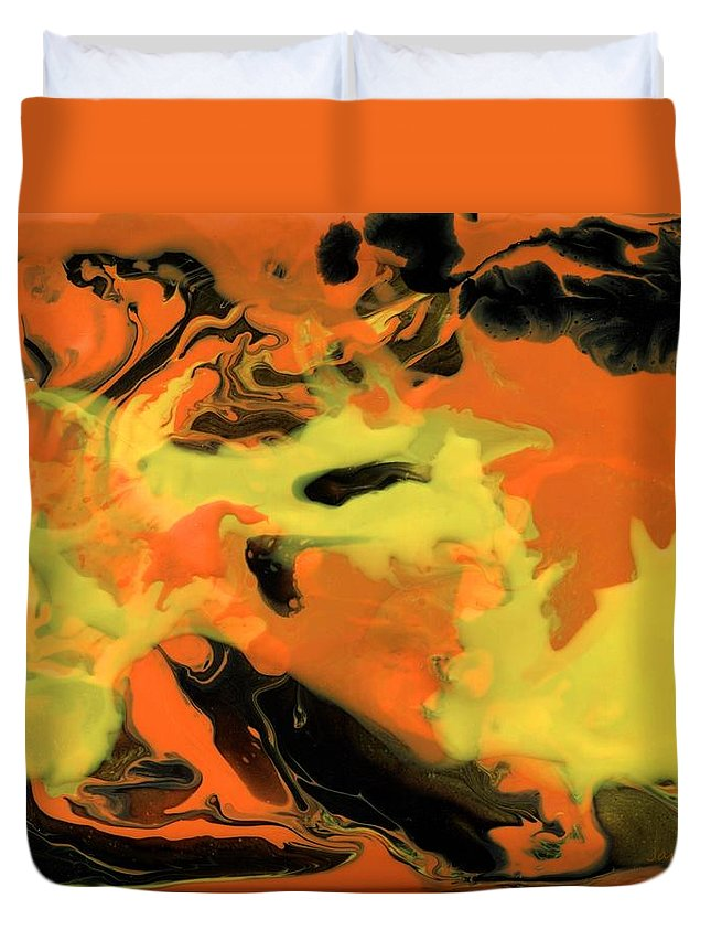 Abstract Duvet Cover featuring the painting Dragon by Jamie Frier