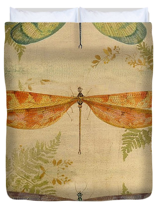 Insect Duvet Cover featuring the painting Dragonflies Among The Ferns-12415 by Jean Plout