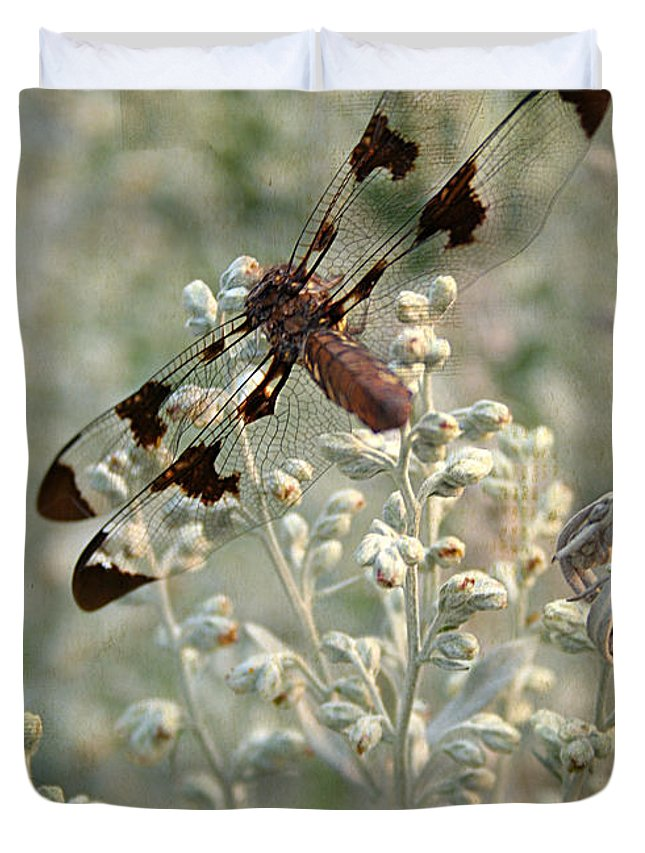 Angle Duvet Cover featuring the photograph Dragonfly by Darren Fisher