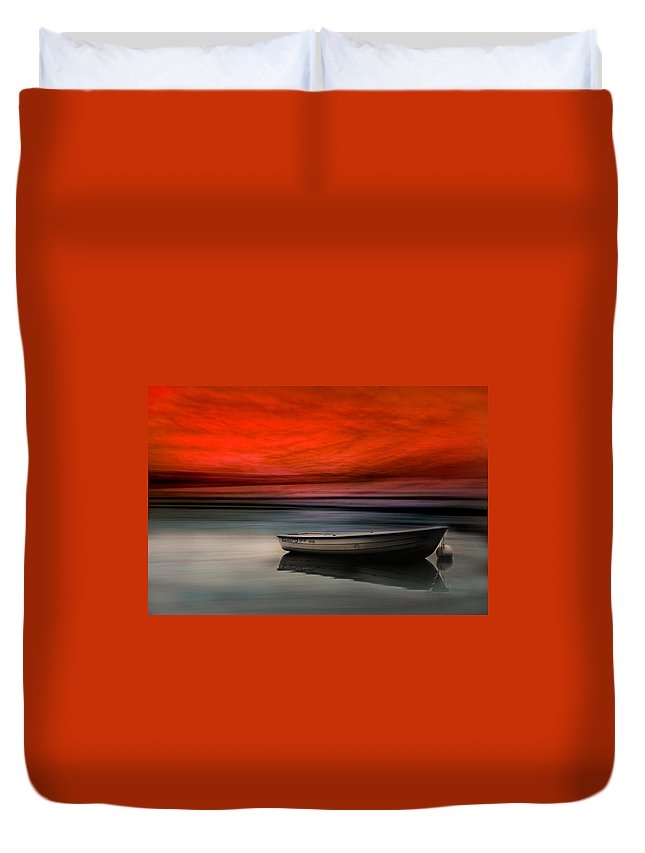 Boat Duvet Cover featuring the photograph Drama Lake by Heike Hultsch