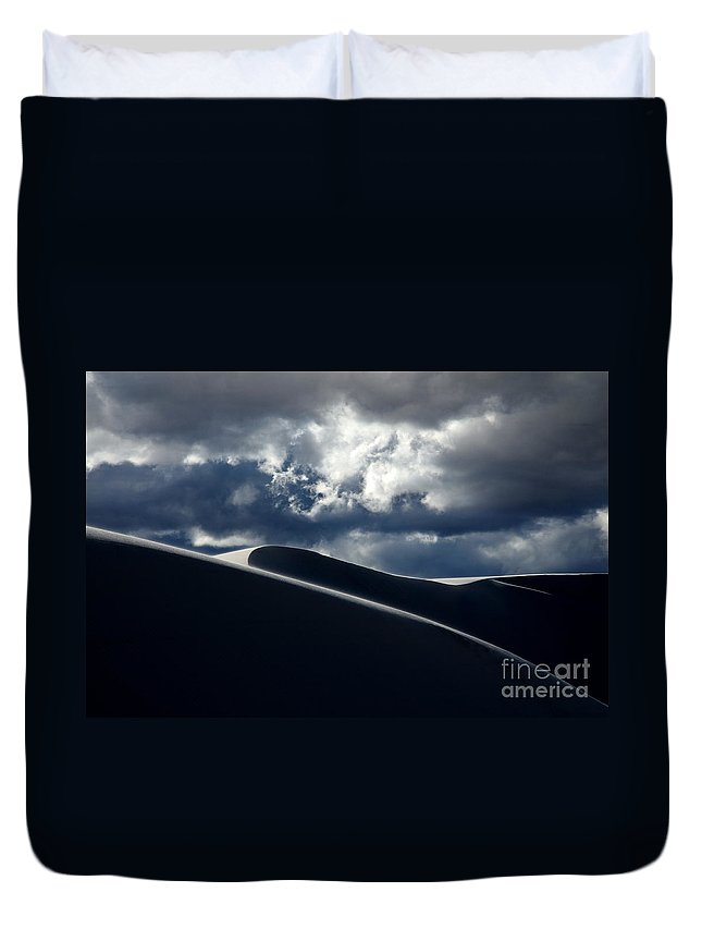 White Sands Duvet Cover featuring the photograph Drama Of The White Sands by Vivian Christopher