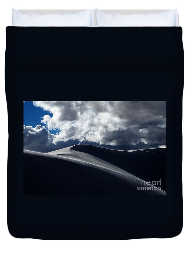 White Sands Duvet Cover featuring the photograph Drama On The Rim by Vivian Christopher