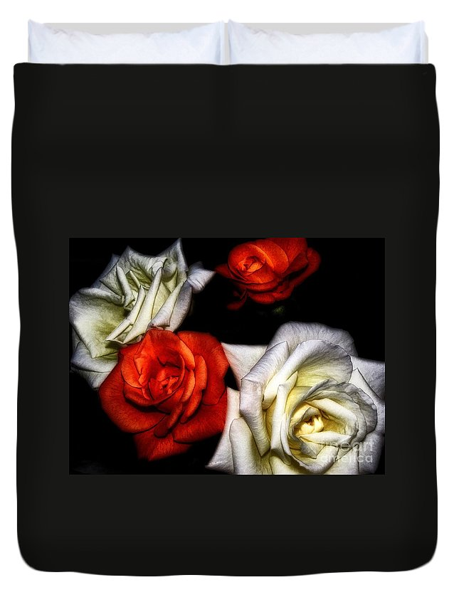Dramatic Duvet Cover featuring the photograph Drama Queens by Peggy Hughes