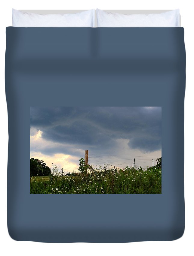 Thunderstorm Duvet Cover featuring the photograph Dramatic Skies by Kathryn Meyer