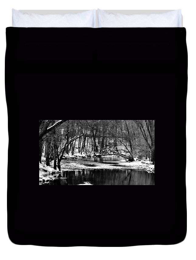 Winter Duvet Cover featuring the photograph Dramatic Waterway by Art Dingo