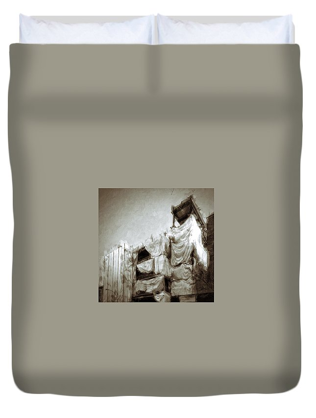 Architecture Duvet Cover featuring the photograph Draped Building by H James Hoff