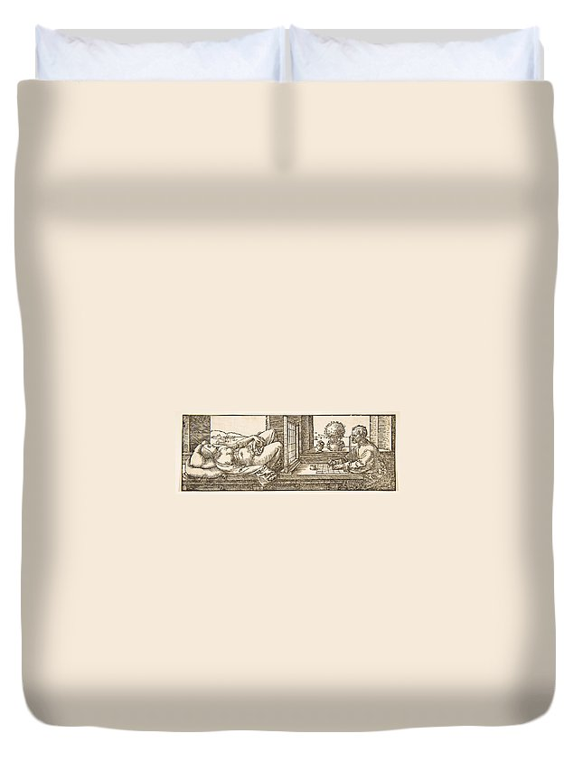 Albrecht Duerer Duvet Cover featuring the drawing Draughtsman Making A Perspective Drawing Of A Reclining Woman by Albrecht Duerer