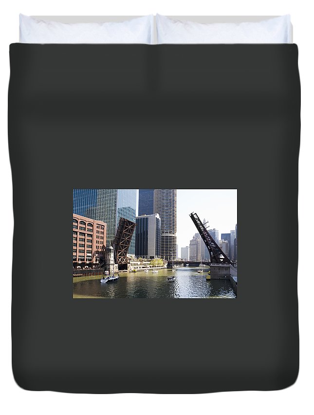 Chicago Duvet Cover featuring the photograph Draw Bridges Of Chicago by Alexey Stiop